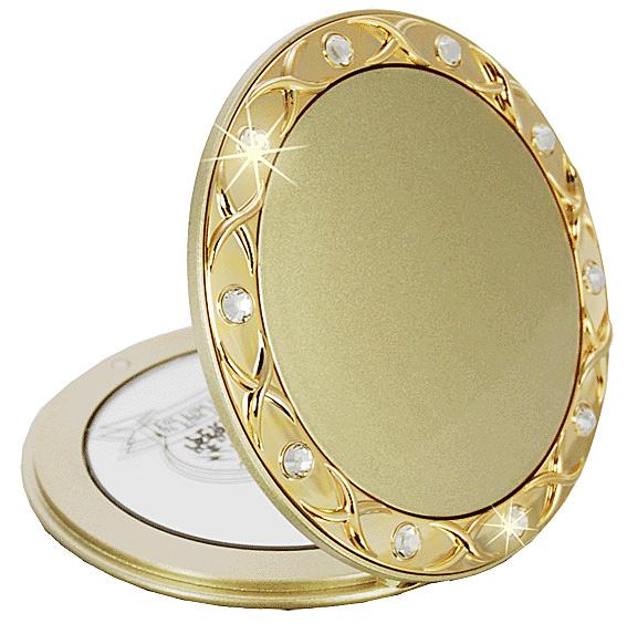 Taschen-Spiegel Gold mit 10-fach Vergrößerung, Kosmetex, Ø8cm Taschen Kosmetik-Spiegel Gold