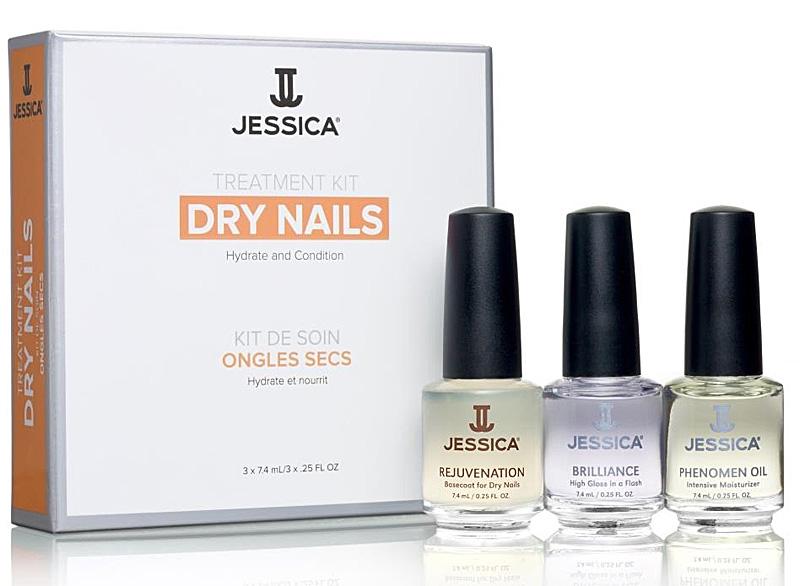 Jessica Dry Nail Kit ist ein Nagelset für trockene Nägel, 3 teilig, 3x 7,4ml