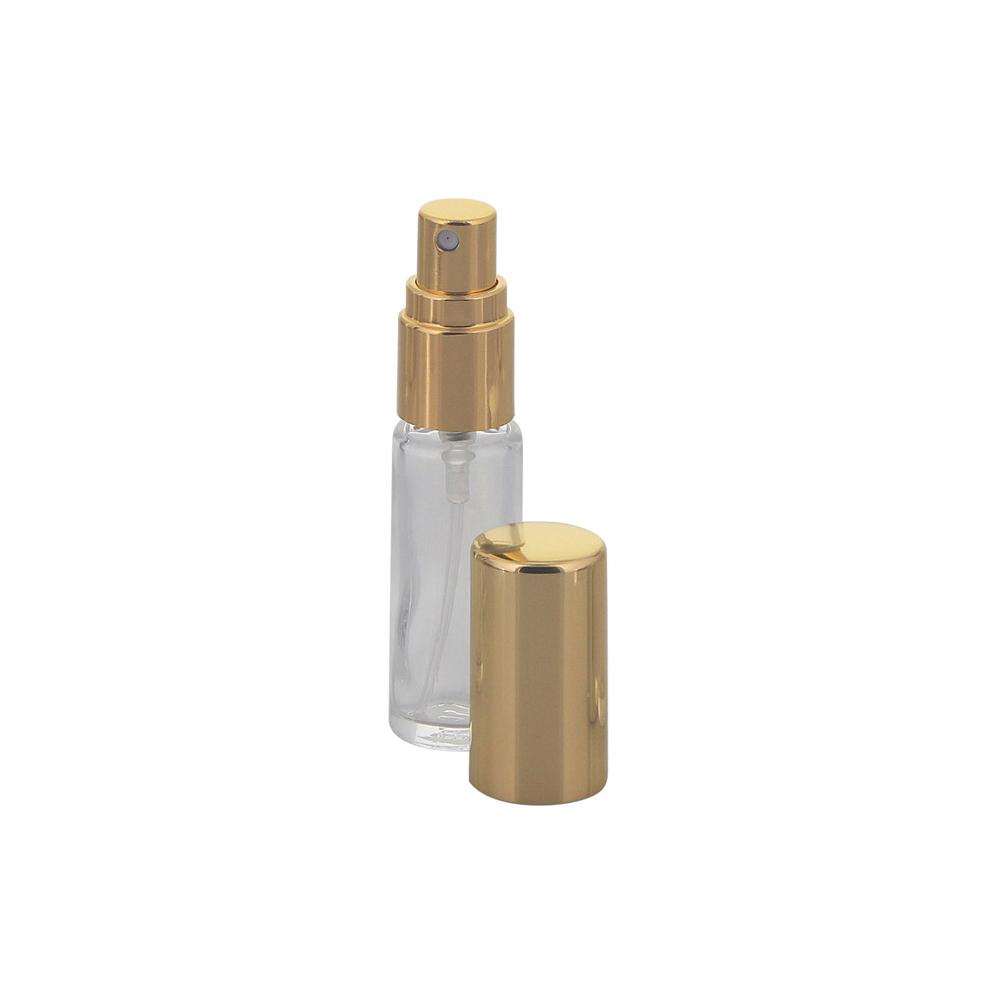 Mini Parfümflakon Glas mit Zerstäuber Kosmetex, je 5ml Flakon für Parfum, Colognes, leer Gold