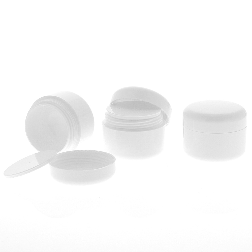 Leere Dose, Kosmetikdose weiß, 15ml Kunststoffdose, Cremedose, Kosmetex 3 x 15 ml