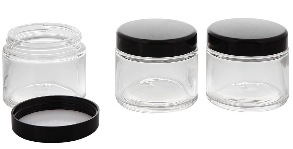 Klar-Glas Tiegel 100 ml schwarzer Deckel, Leere Kosmetex Glas Creme-Dose, Kosmetik-Dose 3× 100 ml Klarglas