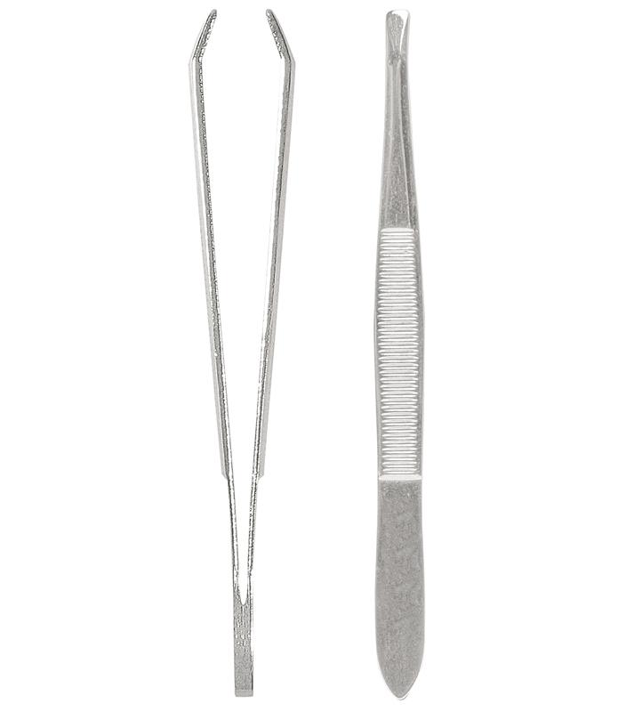 Solingen Qualitätspinzette, hochglänzend, präzise ausgeschliffene Greifkanten 2,5 mm breit, abgew.