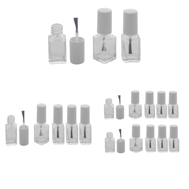 Glasklare leere Nagellack-Flasche mit Pinsel, für Selbstabfüller, Kappe weiß, 6ml, Kosmetex
