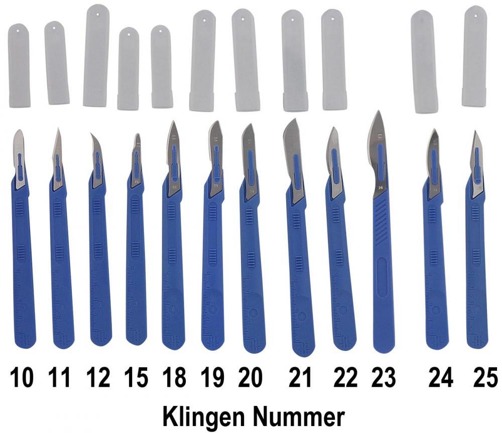 10x Einwegskalpell Klinge Figur 18, Kosmetex Einmal Skalpell, mit Schutz-kappe, einzeln steril verpackt Figur 18