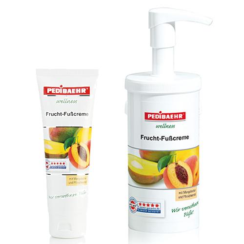 Fußbalsam, Frucht Fußcreme mit Mangobutter und Pfirsichkernöl Fusspflege für jeden Hauttyp, PediBaehr