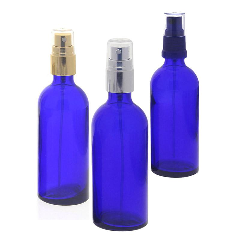 Blauer Glas Flakon, Kosmetex Blauglas-Flasche mit Zerstäuber, Sprühflasche 100ml, Glasflasche mit Pumpzerstäuber