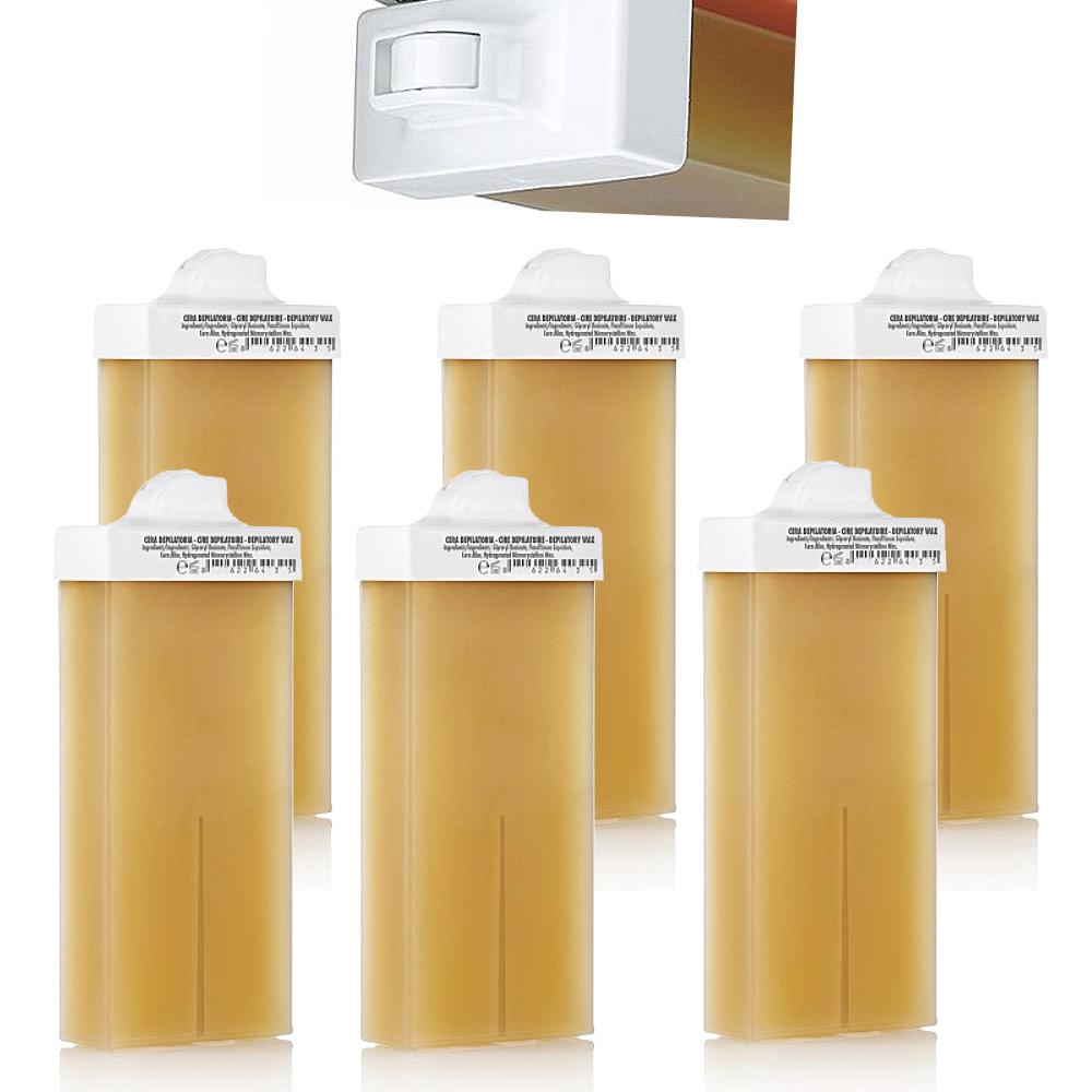 Kosmetex Wachspatrone Honig, Enthaarungswachs, Warmwachspatronen, Körperpflege, Haarentfernung, Mini 6 x Mini