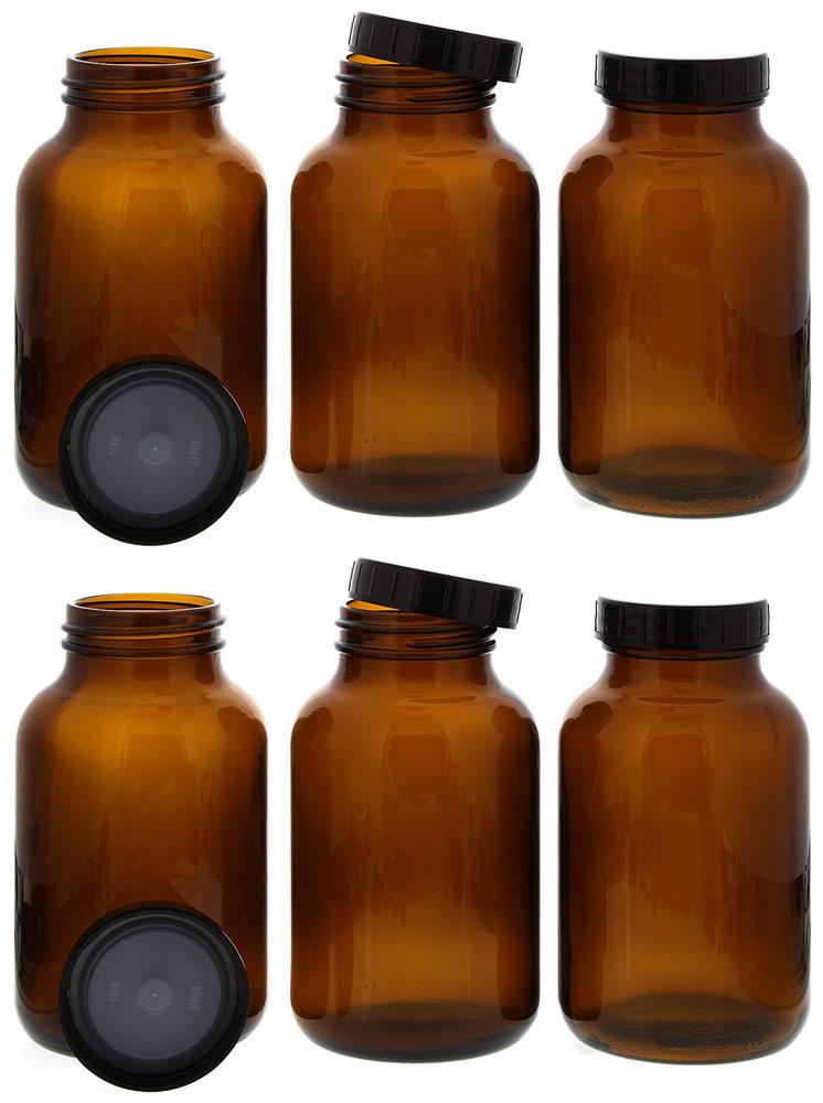Weithalsflasche, Braunglasflasche m. Kunststoff-Deckel, leer Kosmetex Glasdose, Flasche, 1000 ml 6× 1000 ml