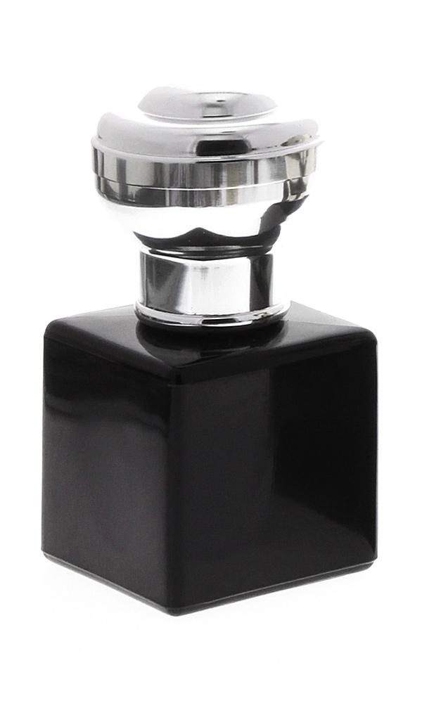 Glas-Flakon schwarz mit silbernem Kugel-Kopf, Zerstäuber 50ml Kosmetex Glas Parfüm-Zerstäuber, leer Silber Kugelkappe