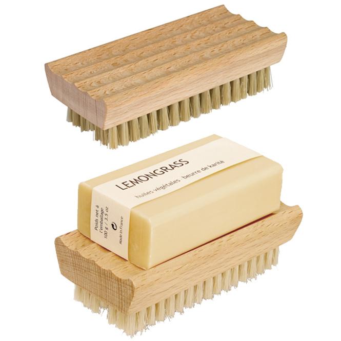 Nagelbürste aus Buchenholz, Handbürste mit Seifenablage, 10x5 cm