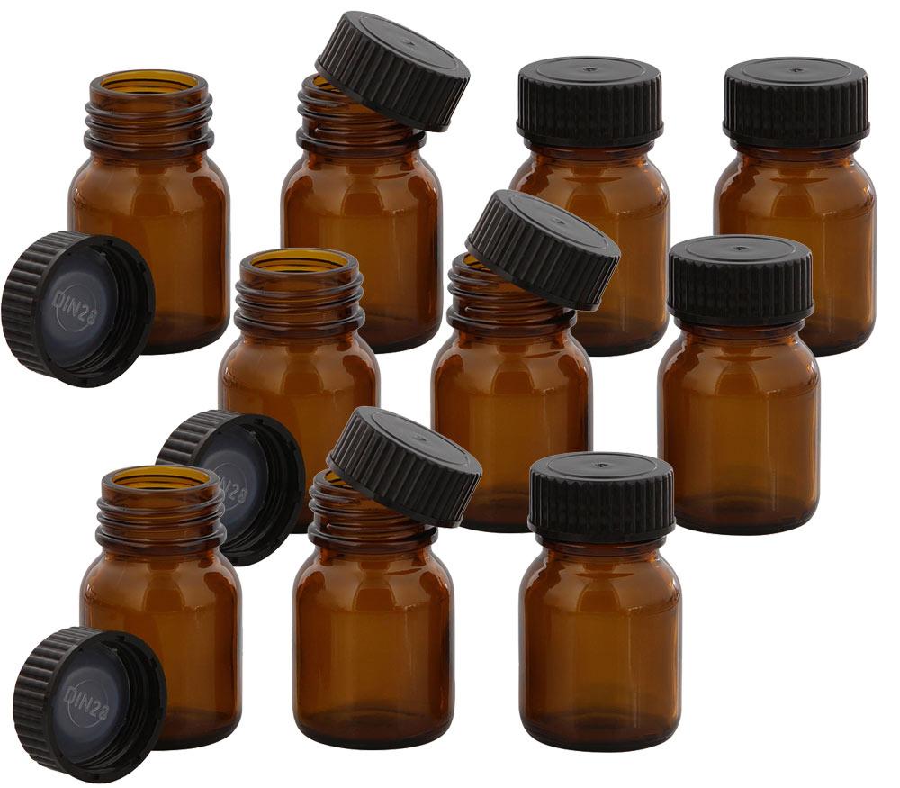 Braunglasflasche m. Kunststoff Deckel, Weithals-Flasche, 25 ml Kosmetex Glasdose aus Braunglas, Leer 10× schwarz