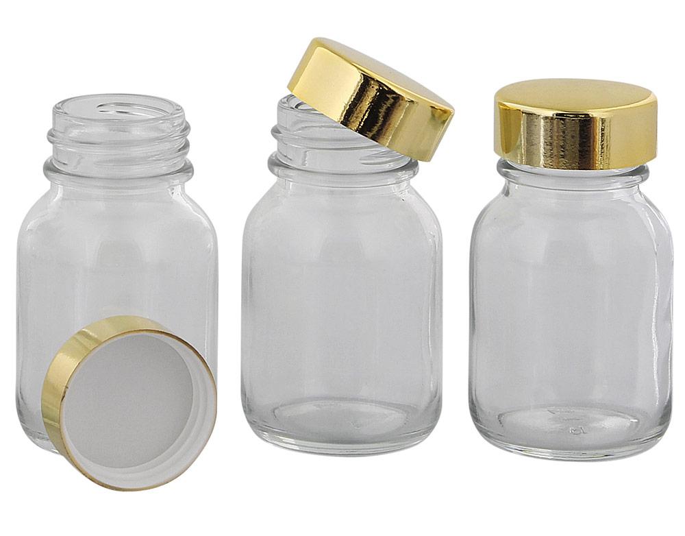 Klarglasflasche m. Kunststoff Deckel, Weithals-Flasche, 50 ml Kosmetex Glasdose aus Klarglas, leer 3× 50 ml gold