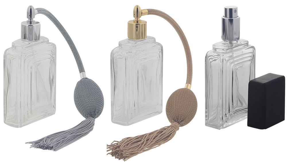 Zerstäuber für Parfüm, Glas Flacon Raute mit Ball u. Quaste Kosmetex Pumpzerstäuber für Parfüm 100ml