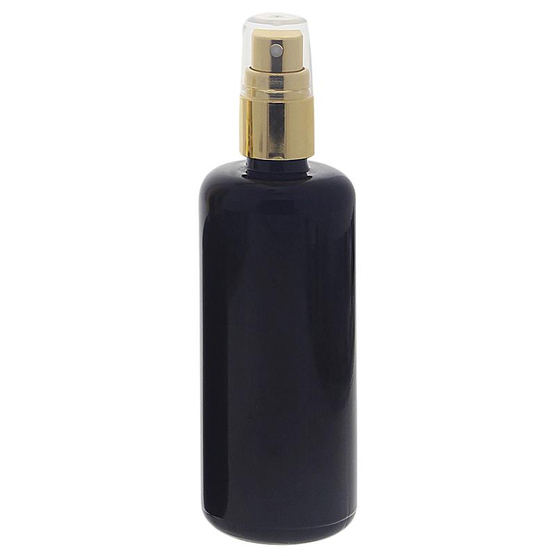 Violettglas Sprühflasche, stark lichtschützend, Lila Miron Glas-Flasche mit gold. Pumpzerstäuber, Flakon Kosmetex 100 ml