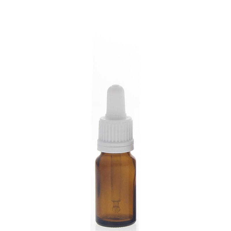 Braunglasflasche mit Pipette, leere braune Kosmetex Glasflasche, Pipettenflasche mit kompletter Pipettenmontur. 10 ml