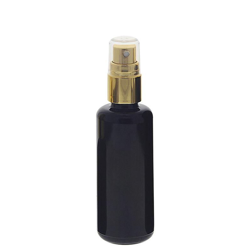 Violettglas Sprühflasche, stark lichtschützend, Miron Glas-Flasche mit gold. Pumpzerstäuber, Flakon Kosmetex 50 ml