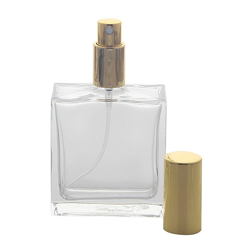 Kosmetex leerer, eckiger Glas-Flakon, 100 ml mit gold. Parfüm-Zerstäuber Gold