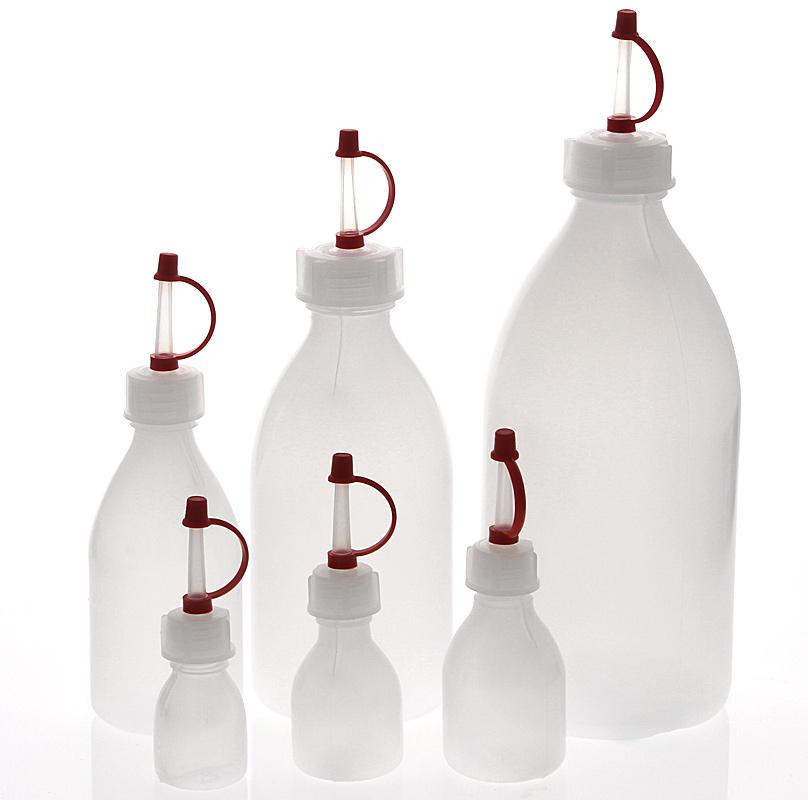Kosmetex Enghals Laborflaschen mit Tropverschluss, div. Größen. Laborqualität für Flüssigkeiten aller Art