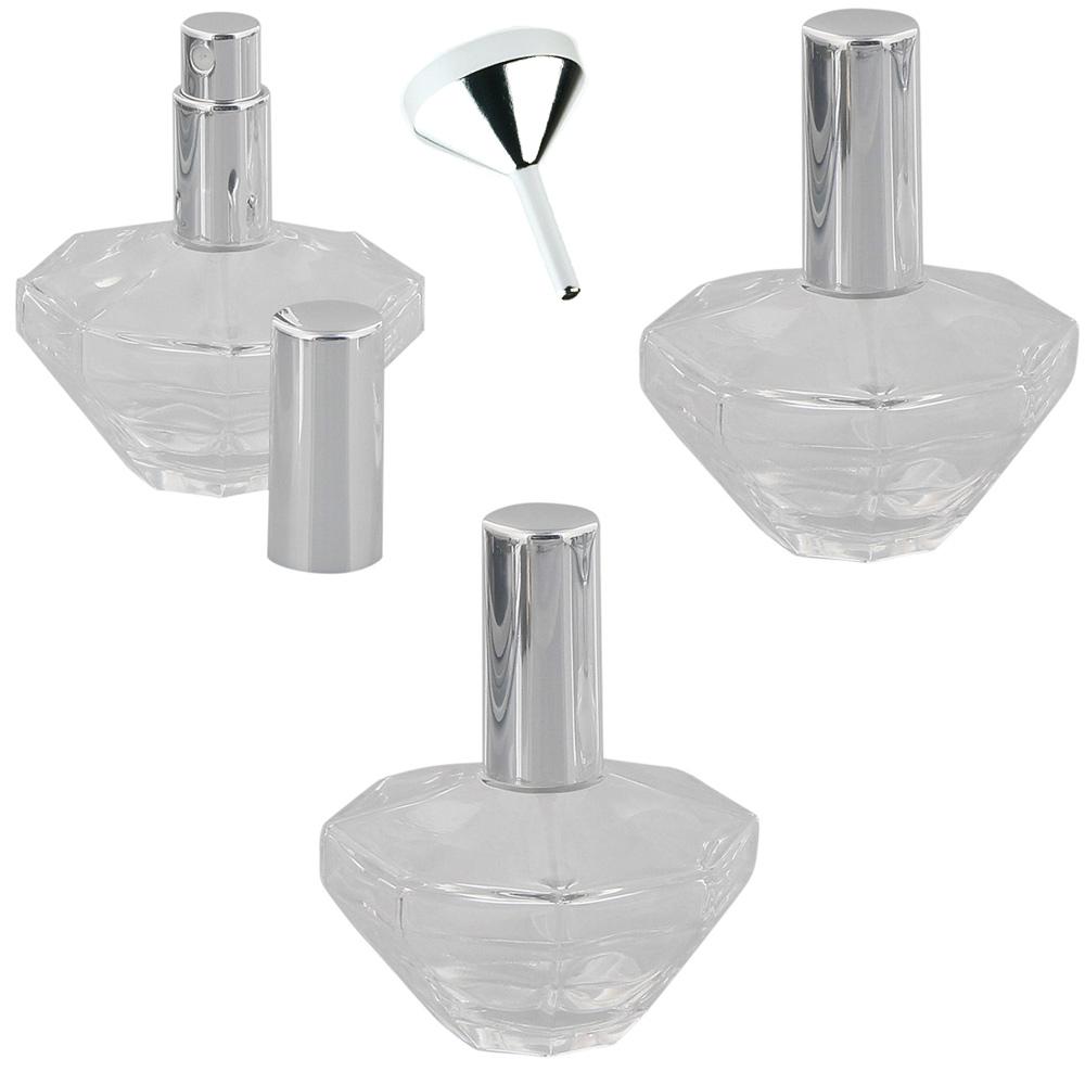 Glas-Flacons, Oktogon Zerstäuber für Parfüm, Kosmetex Pump-Zerstäuber 3× 50 ml 3er Set
