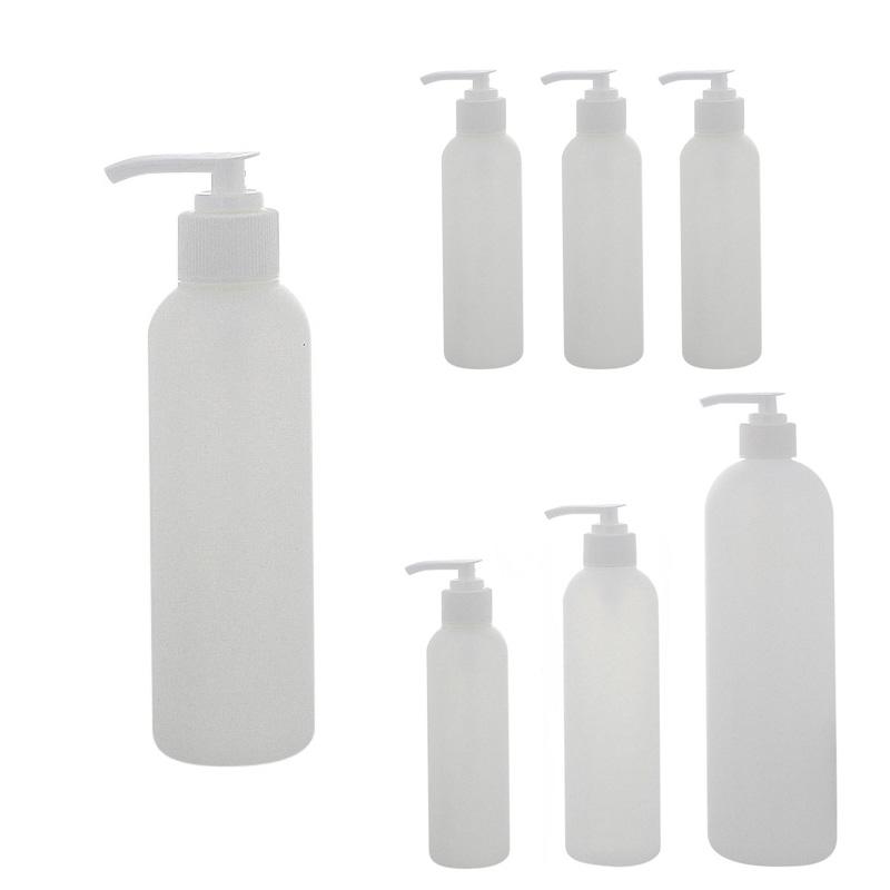 Leere Flasche mit Pumper 150ml, 250ml, 500ml, Kosmetex BOSTON Pumper-Flasche, Plastik, zylindrisch, halbtransparent