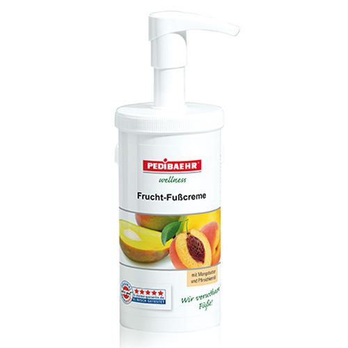 Fußbalsam, Frucht Fußcreme mit Mangobutter und Pfirsichkernöl Fusspflege für jeden Hauttyp, PediBaehr 450ml mit Spender