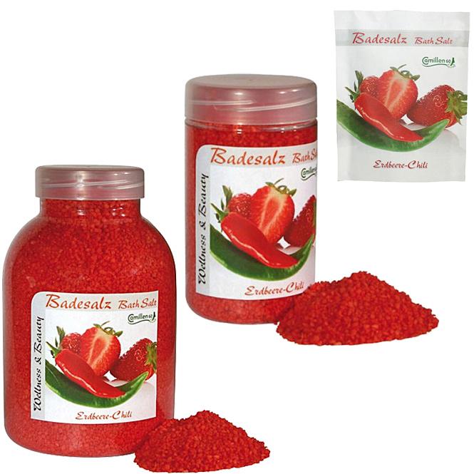 Badesalz Erdbeere, Chili, Camillen 60, Fussbad wärmender Badezusatz für kalte Füsse, mit Fruchtextrakt,