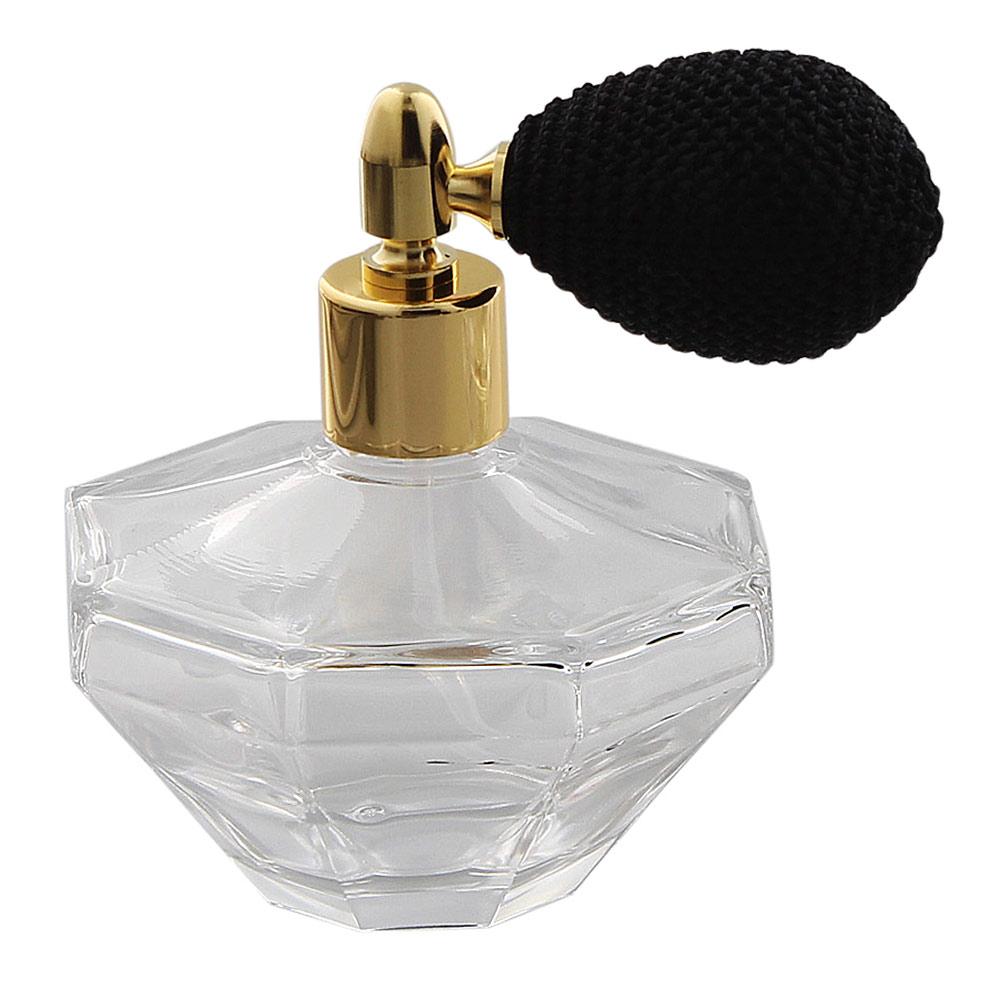 Glas-Flacon, Oktogon Zerstäuber für Parfüm, Kosmetex Pump-Zerstäuber Gold-Schwarz 50 ml mit Ballpumpe Ballp. Gold-Schwarz