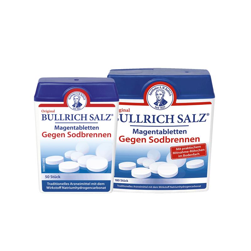 Bullrich Magentabletten gegen Sodbrennen mit einem Mitnahme-Röhrchen im Bodenfach