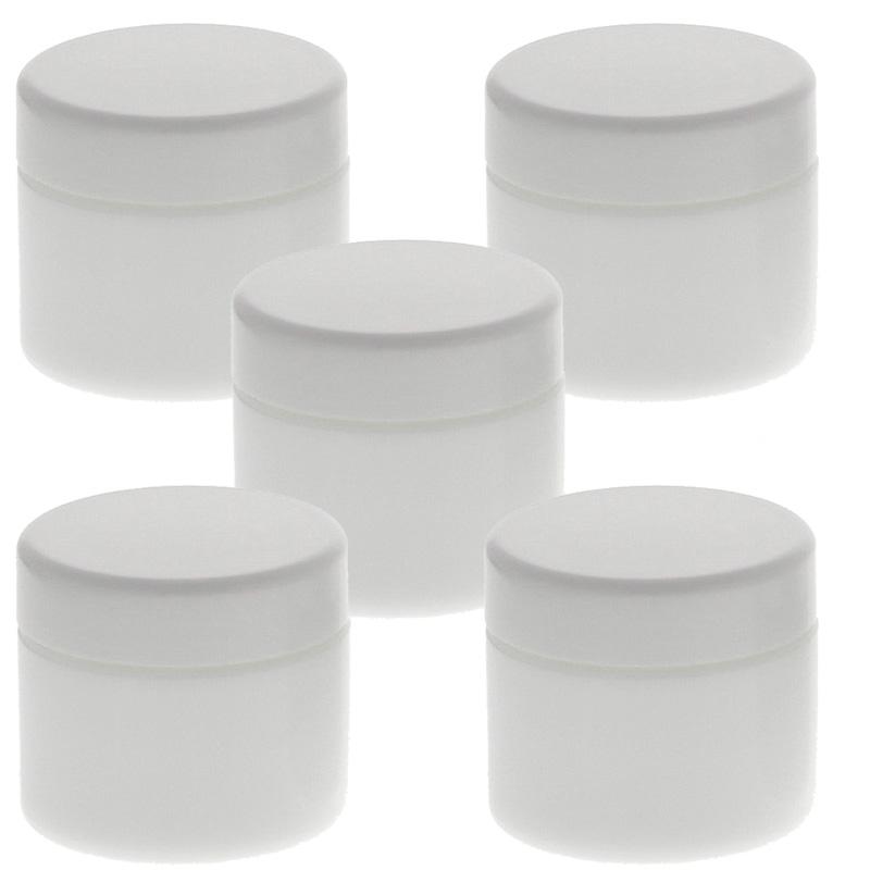 Weiß Glas-Tiegel 50ml mit Deckel Weiß, Leere Kosmetex Glas Creme-Dose, Kosmetik-Dose aus Weißglas Weiß - Weiß | 5 Stück