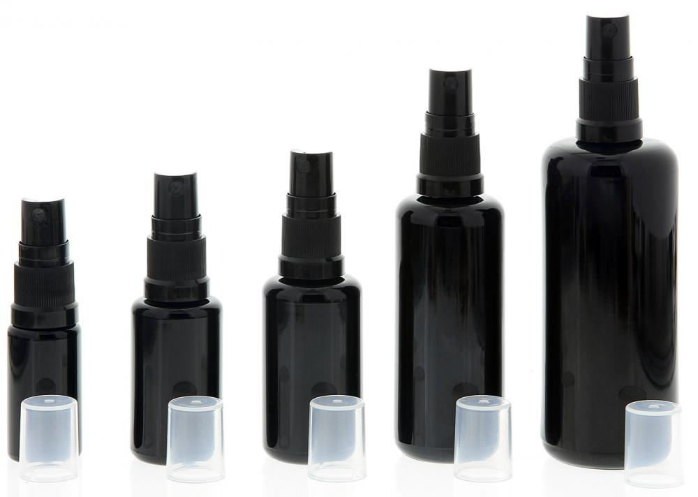 Violettglas Sprühflasche, stark lichtschützend, Miron Glas-Flasche mit Kosmetex schwarzen Pump-Zerstäuber