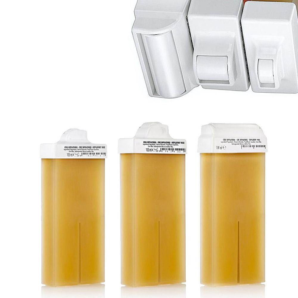 Kosmetex Warmwachs-patronen Honig f. Intim-Enthaarung 8, 15, 45mm Mini, Schmal und Breit Aufsatz-Rollen Roll-On 3 x Mix
