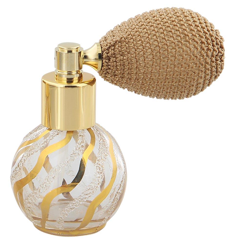 Zerstäuber für Parfüm, Flacon mit Ball-Pumpe, Echtgold Bemalung mit 24 Karat Gold, Kosmetex Pumpzerstäuber, 15ml