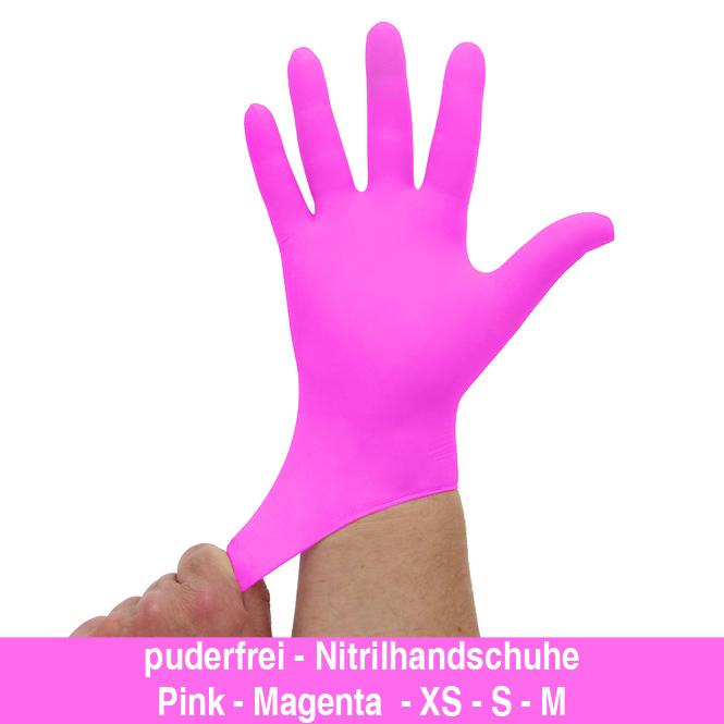 Nitrilhandschuhe kräftiges Pink Magenta, Einmalhandschuhe, Einweghandschuhe,100 Stück
