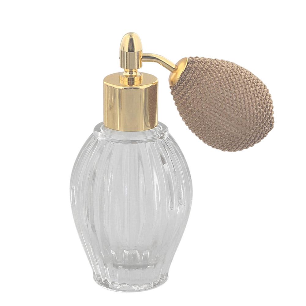Tisch-Zerstäuber für Parfüm, Glas-Flacon, Kosmetex Pumpzerstäuber, golden mit Ballpumpe 35 ml Ballpumpe gold