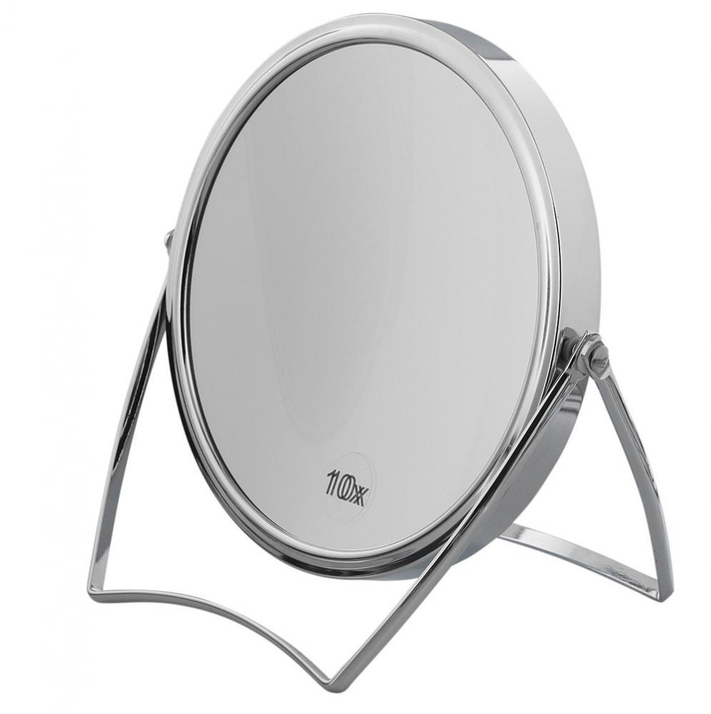 Kosmetex Spiegel 18 cm Standspiegel mit 10-fach Vergrößerung RS 1:1, Kosmetik-Spiegel Metall klappbar