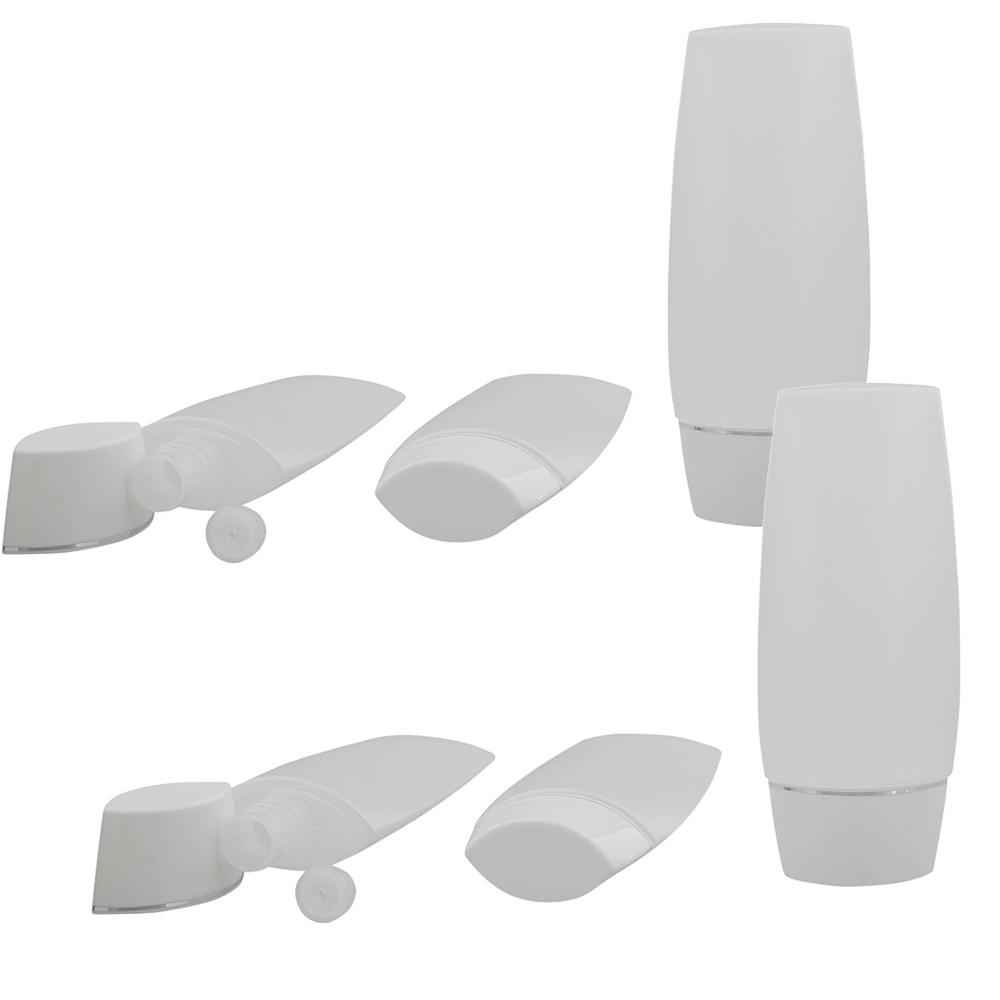 Kosmetex leere 50ml Tube für Flüssigkeiten, Cremes, Shampoo, ideal für Reise, transparenter Kunststoff mit Silber Streifen 6× 50ml