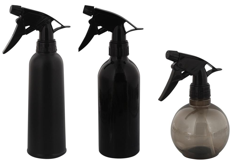 Sprühflasche Kosmetex Schwarz Flasche mit Sprühkopf Zerstäuber, leer