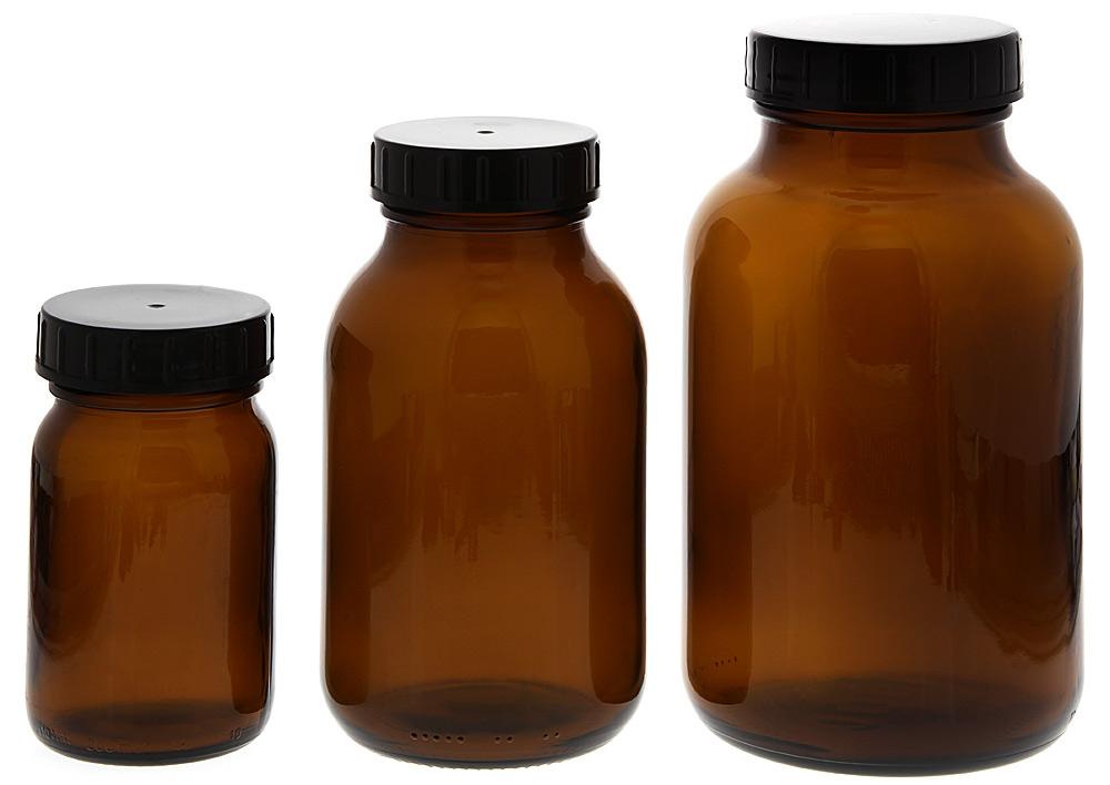 Weithalsflasche, Braunglasflasche m. Kunststoff-Deckel, leer Kosmetex Glasdose, Flasche, rund
