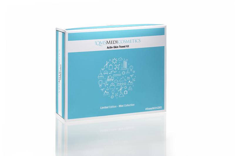 QMS Activ Skin Travel Kit, Reise Set, Sport Active, Reinigung, Gesichtspflege, Anti Aging Tagescreme, leicht getönt, 7-teilig Tagescreme getönt