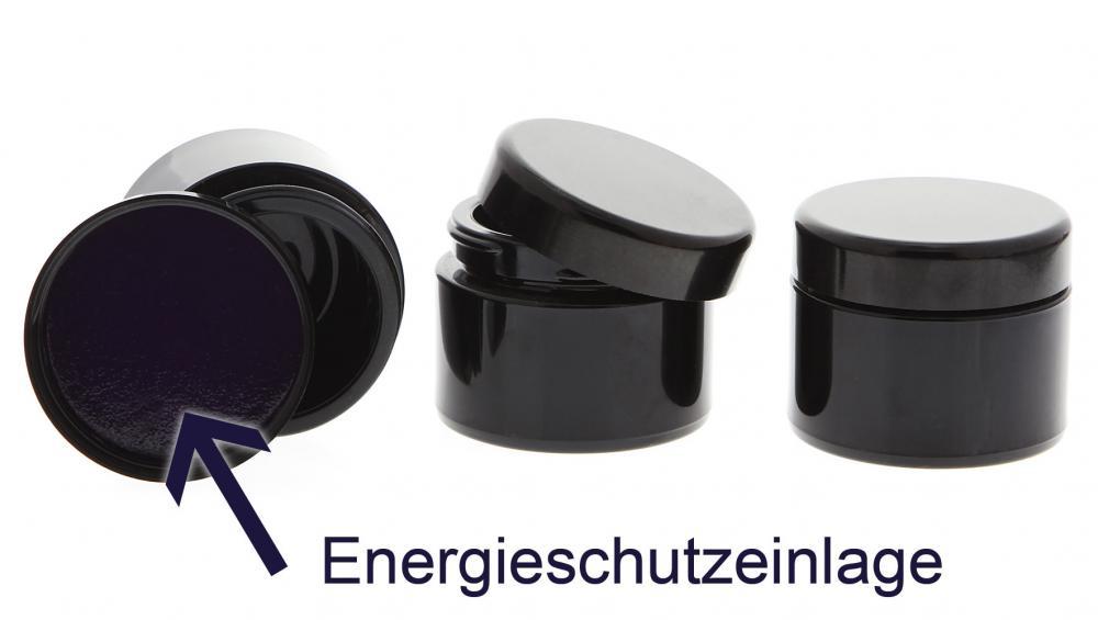 Mironglas Violett Tiegel 50 ml Energieeinlage im Deckel, Leere Kosmetex Miron Violett-Glas Creme-Dose, Kosmetikdose 3 Stück