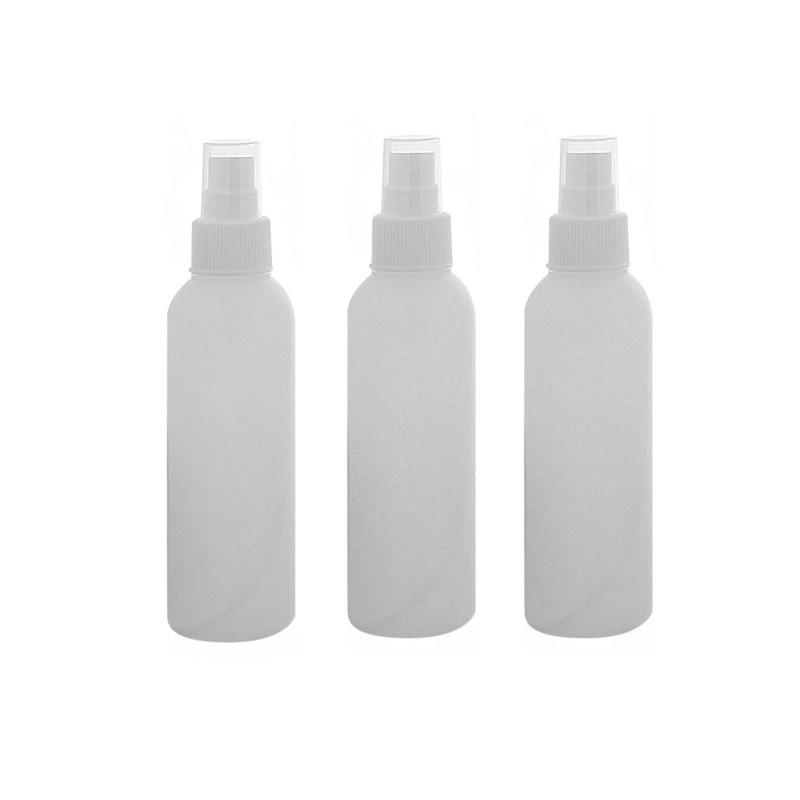 Leere Flasche mit Zerstäuber 150ml, Kosmetex BOSTON Sprüh-Flasche, Plastik, zylindrisch, halbtransparent, klein 3 x 150ml