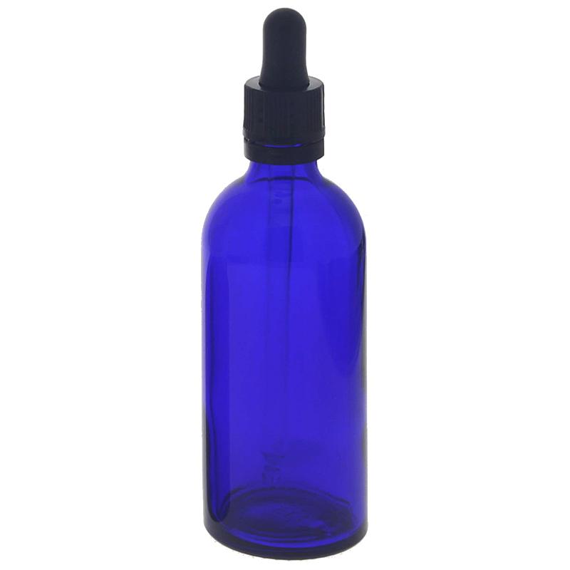Kosmetex Blauglasflasche mit Pipette, leere blaue Glasflasche, Pipettenflasche mit kompletter Pipettenmontur. 100 ml