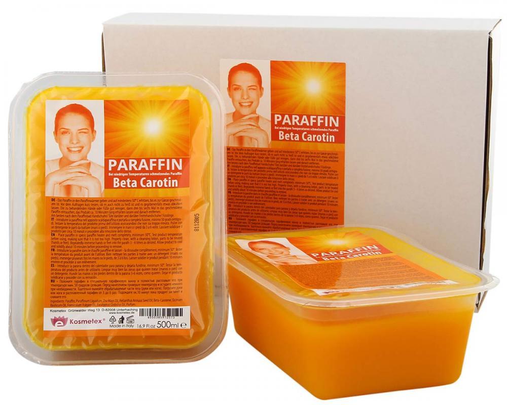 Kosmetex Paraffin-wachs Beta Carotin, Paraffinbad Wachs mit niedrigeren Schmelzpunkt 2x 500ml