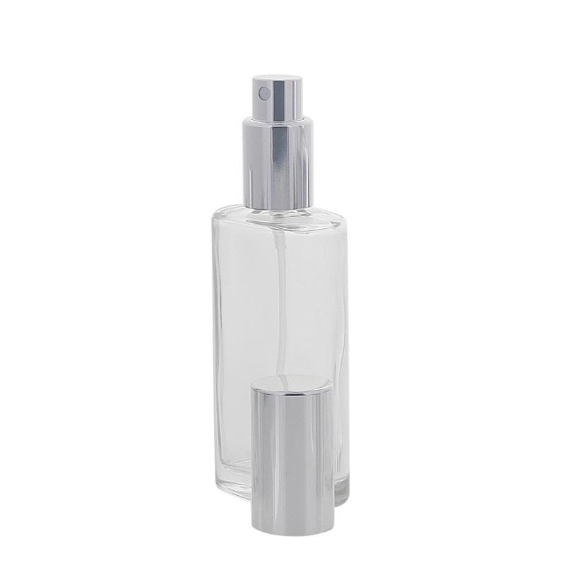Ovaler Klarglas Kosmetex Flakon mit silber. Zerstäuber, 50 ml