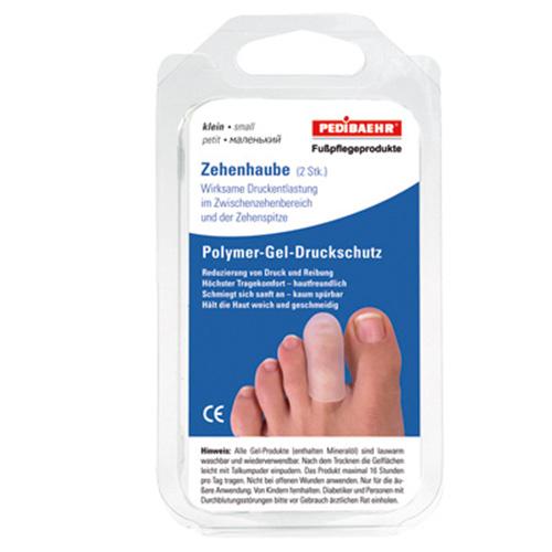 PediBaehr Polymer Gel Zehenhaube, Druckschutz, Zehenkappe für die Fuß Zehen, klein, 2 Stück