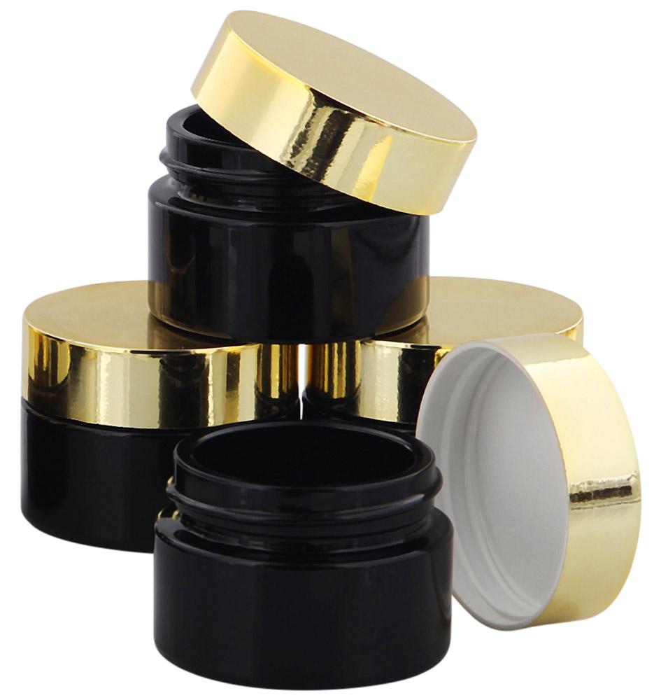 Violett Glas-Tiegel m. Deckel, 15 ml Kosmetex Kosmetik-Tiegel, Salbentiegel, Cremedose 4× gold