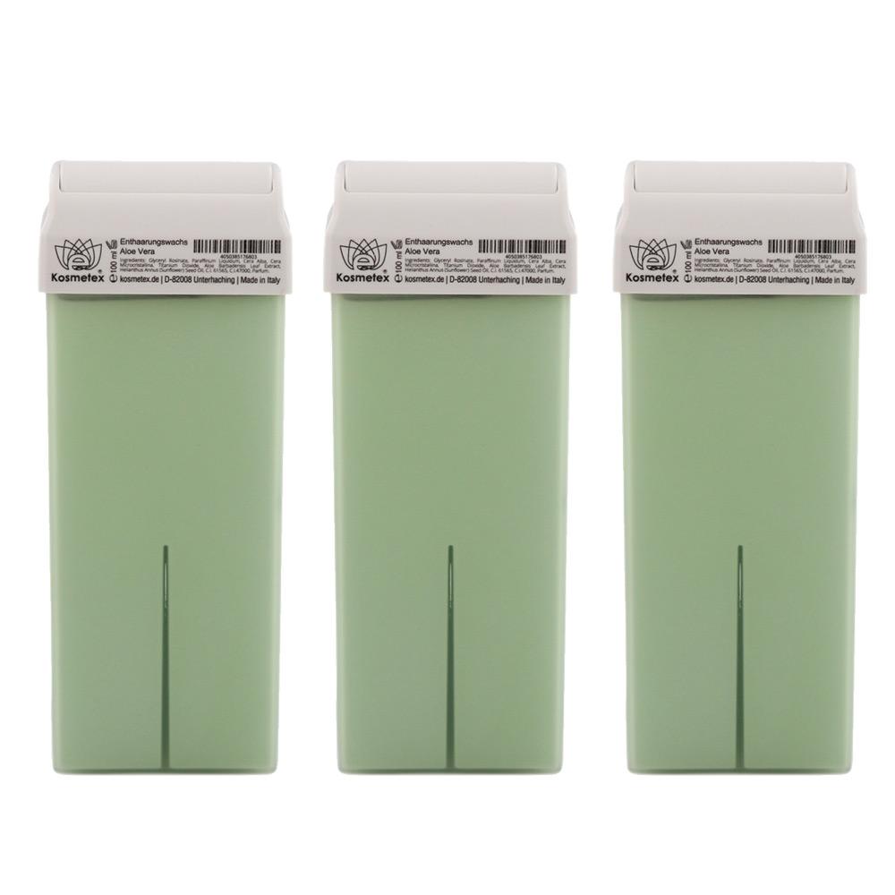 Kosmetex Aloe Vera Warm-Wachspatrone, Enthaarungswachs, Warmwachs, Körperpflege Haarentfernung 3 Stück