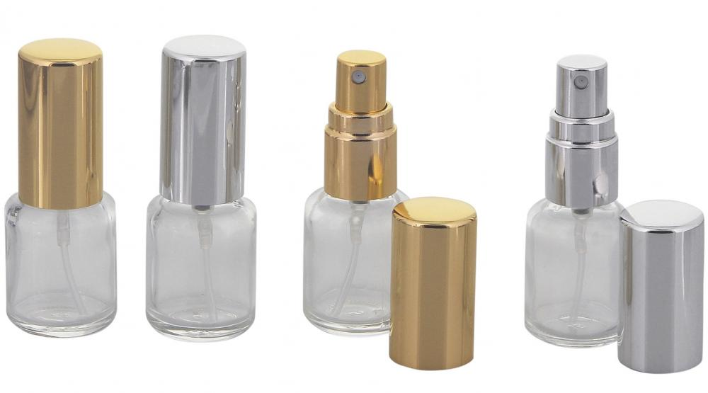 Kosmetex Mini Parfümflakon Glas mit Zerstäuber, Taschenzerstäuber für Parfum, Colognes, leer, 5ml