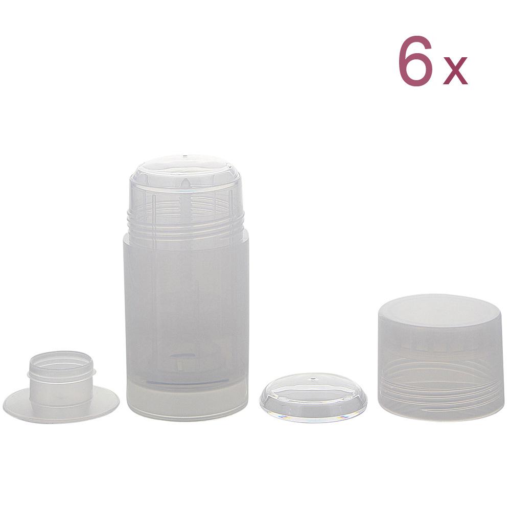 Deo Stick Kosmetex Flasche 75ml, leer, Kunststoff, nachfüllbar, für selbsthergestellte Deos, feste Konsistenzen 6 Stück