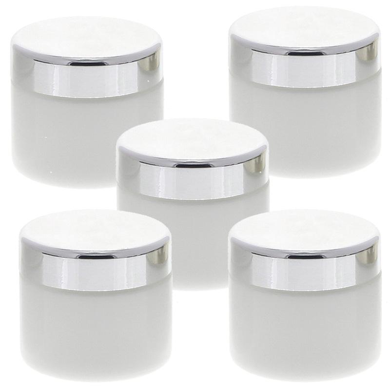 Weiß Glas-Tiegel 50ml mit Deckel Silber, Leere Kosmetex Glas Creme-Dose, Kosmetik-Dose aus Weißglas Weiß - Silber   5 Stück
